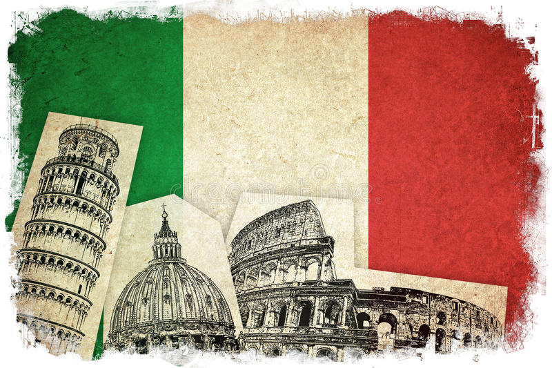 Drapeau grunge de l'Italie avec des monuments illustration stock
