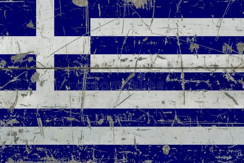 Drapeau grunge de la Grèce sur la vieille surface en bois rayée Fond national de cru illustration libre de droits
