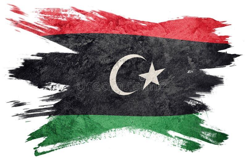 Drapeau grunge de la Libye Drapeau libyen avec la texture grunge Rappe de balai illustration stock
