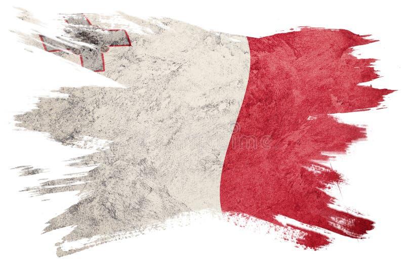 Drapeau grunge de Malte Drapeau de Malte avec la texture grunge Rappe de balai illustration libre de droits