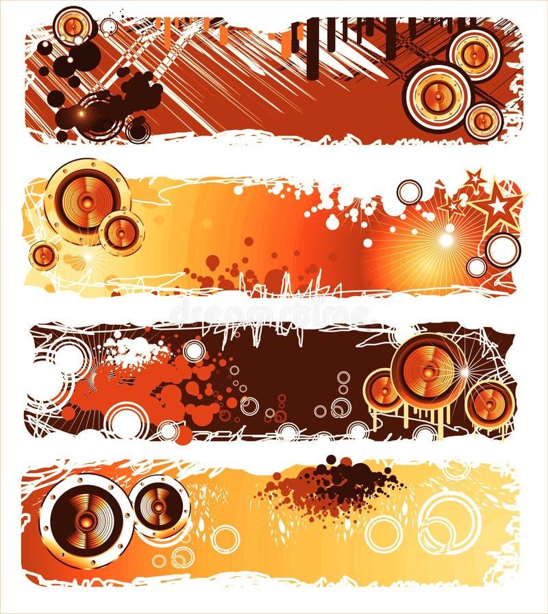 Drapeau grunge de musique de type illustration stock