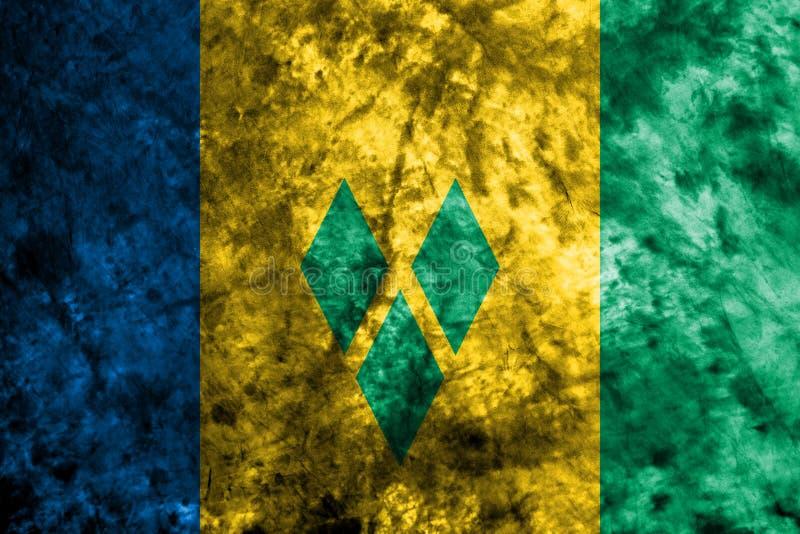 Drapeau grunge de Saint-Vincent-et-les-Grenadines sur le vieux mur sale illustration de vecteur