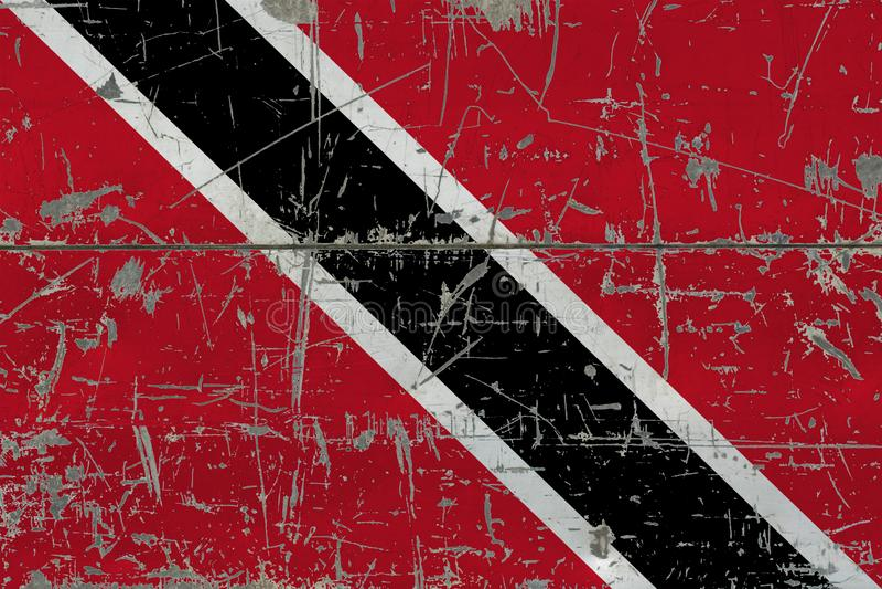 Drapeau grunge de Trinidad And Tobago sur la vieille surface en bois rayée Fond national de cru photos libres de droits
