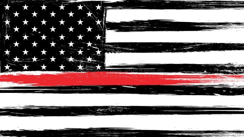 Drapeau grunge des Etats-Unis avec une ligne rouge mince illustration libre de droits