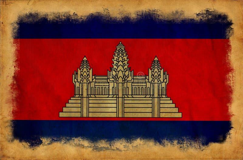 Drapeau grunge du Cambodge illustration stock