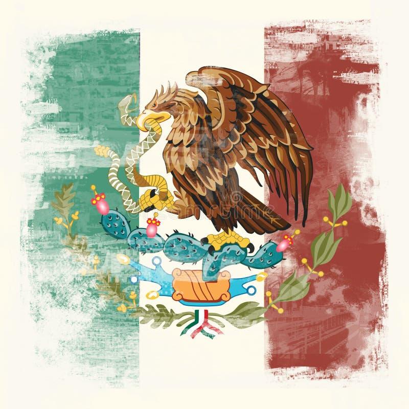 Drapeau grunge du Mexique illustration libre de droits
