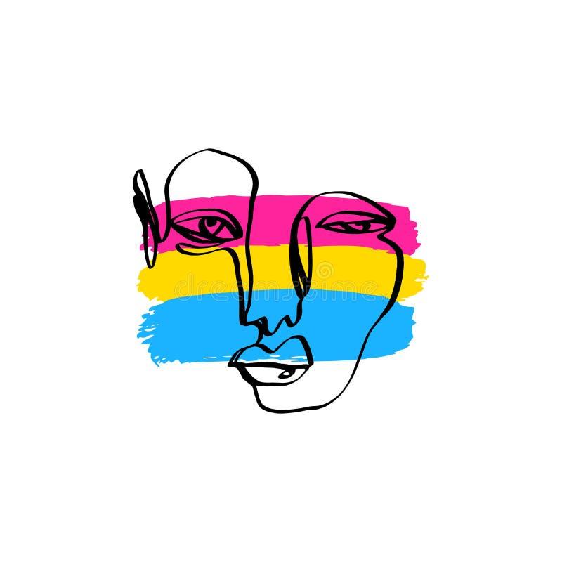 Drapeau grunge et schéma abstrait de style de fierté Pansexual de visage humain Gays et lesbiennes, symbole d'icône ou logo ?l?me illustration de vecteur