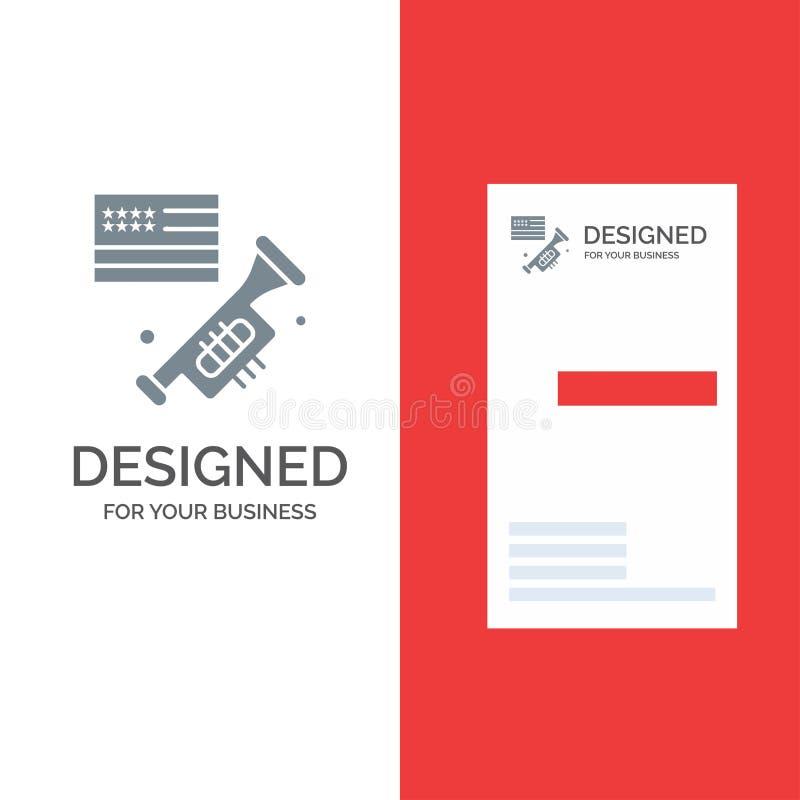 Drapeau, haut-parleur, louange, Américain Grey Logo Design et calibre de carte de visite professionnelle de visite illustration de vecteur