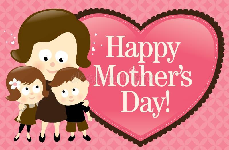 Drapeau heureux du jour de mère - Caucasien illustration stock