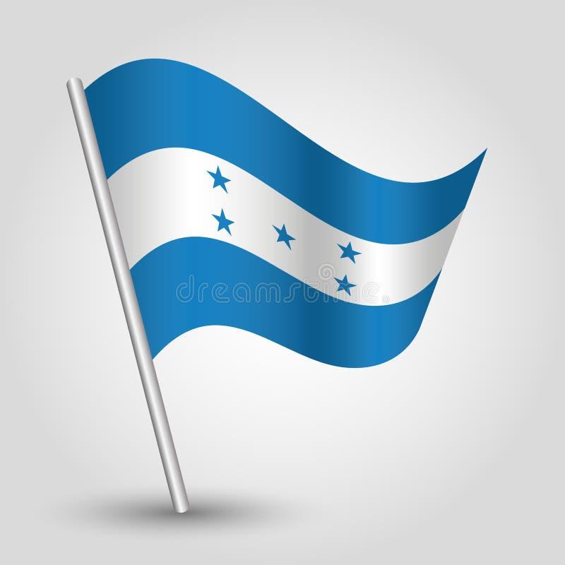 Drapeau hondurien de ondulation de triangle de vecteur sur le poteau argenté incliné - symbole du Honduras avec le bâton en métal illustration de vecteur