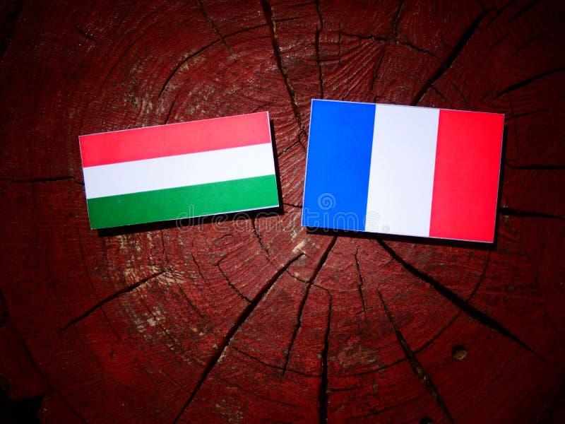Drapeau hongrois avec le drapeau français sur un tronçon d'arbre d'isolement image stock