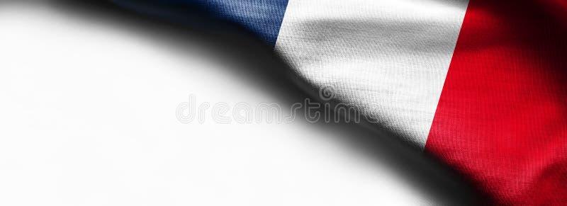 Drapeau incurvé des Frances sur le fond blanc photo stock