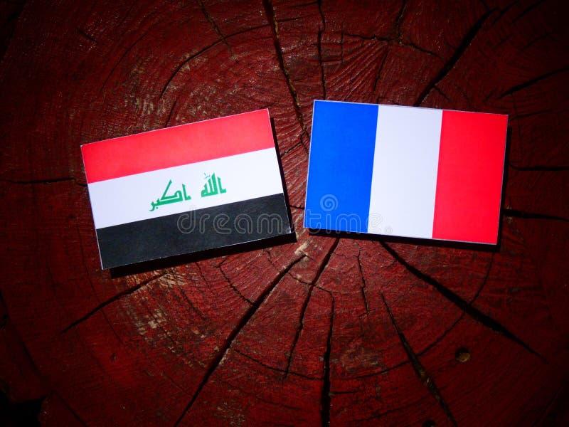 Drapeau irakien avec le drapeau français sur un tronçon d'arbre d'isolement photos stock