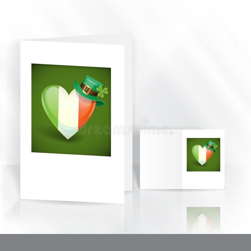 Drapeau irlandais sous forme de coeur. illustration de vecteur