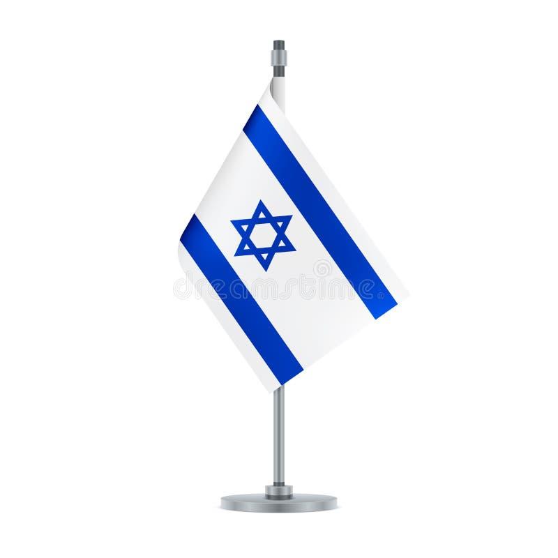 Drapeau israélien accrochant sur le poteau métallique, illustration illustration de vecteur