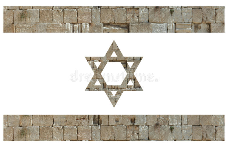 Drapeau israélien avec des pierres du mur pleurant illustration de vecteur