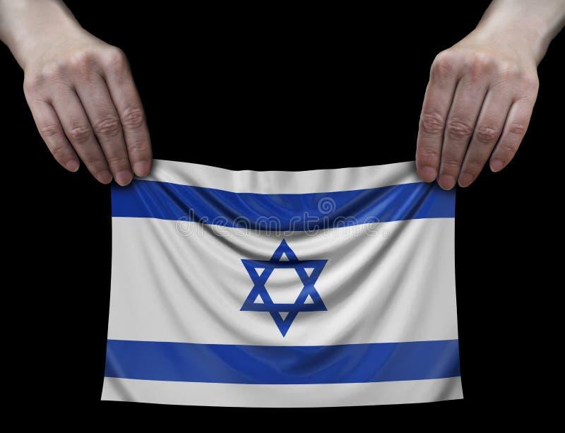 Drapeau israélien dans des mains illustration stock