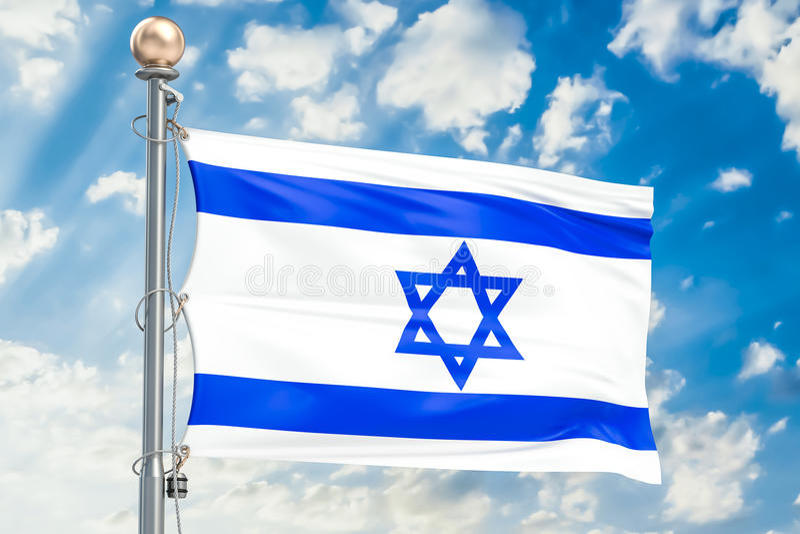Drapeau israélien ondulant en ciel nuageux bleu, rendu 3D illustration libre de droits