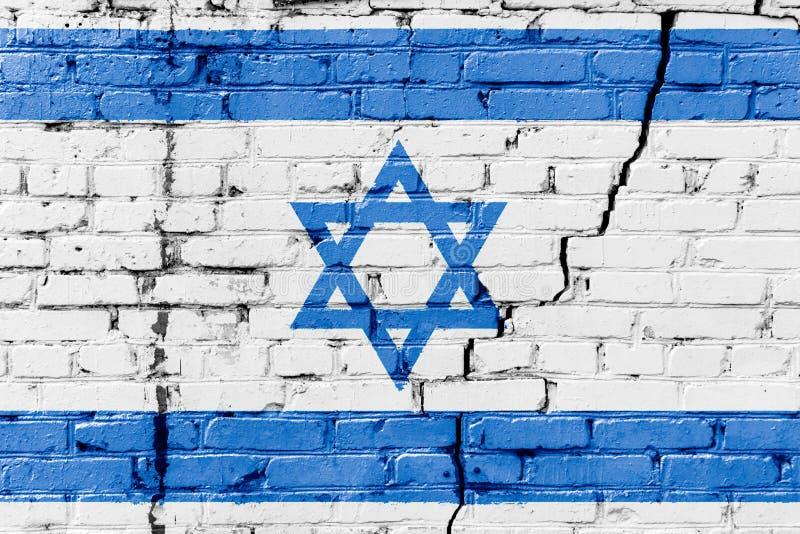 Drapeau israélien peint sur un mur de briques Indicateur de l'Israël Fond abstrait texturisé photos libres de droits