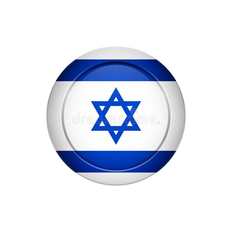 Drapeau israélien sur le bouton rond, illustration illustration stock