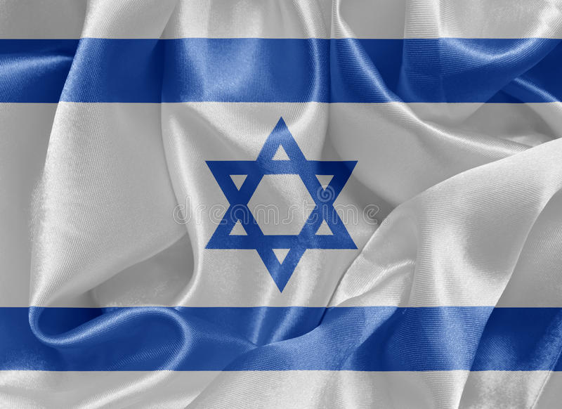 Drapeau israélien de satin photo stock
