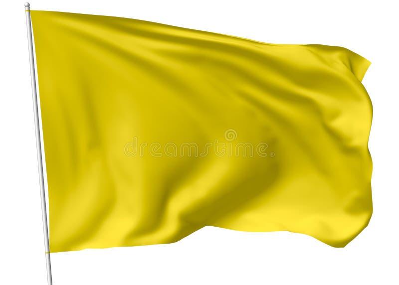 Drapeau jaune sur le mât de drapeau illustration stock