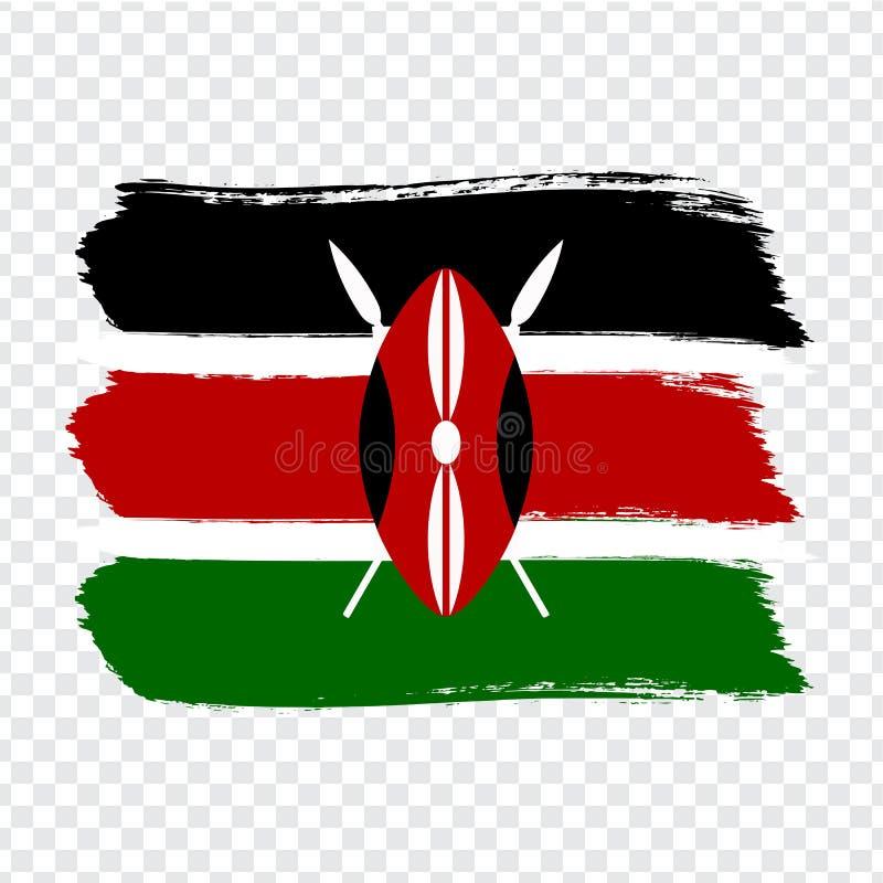 Drapeau Kenya, fond de course de brosse Drapeau du Kenya sur le fond transparent Vecteur courant Drapeau pour votre conception de illustration de vecteur