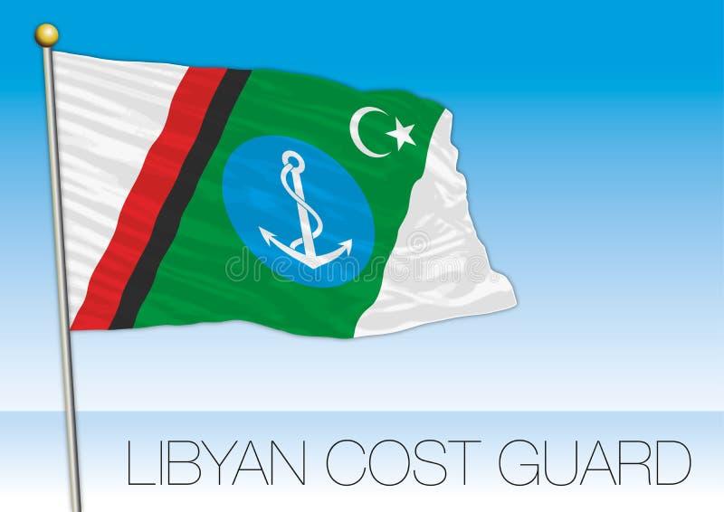 Drapeau libyen de la garde côtière, Libye illustration libre de droits