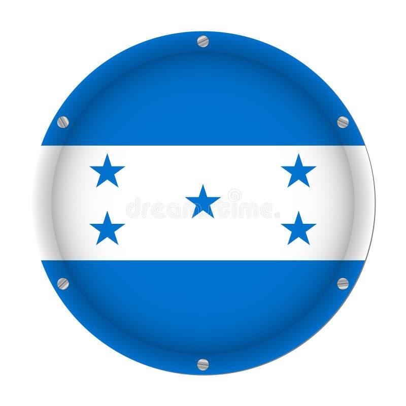 Drapeau métallique rond du Honduras avec des vis illustration stock