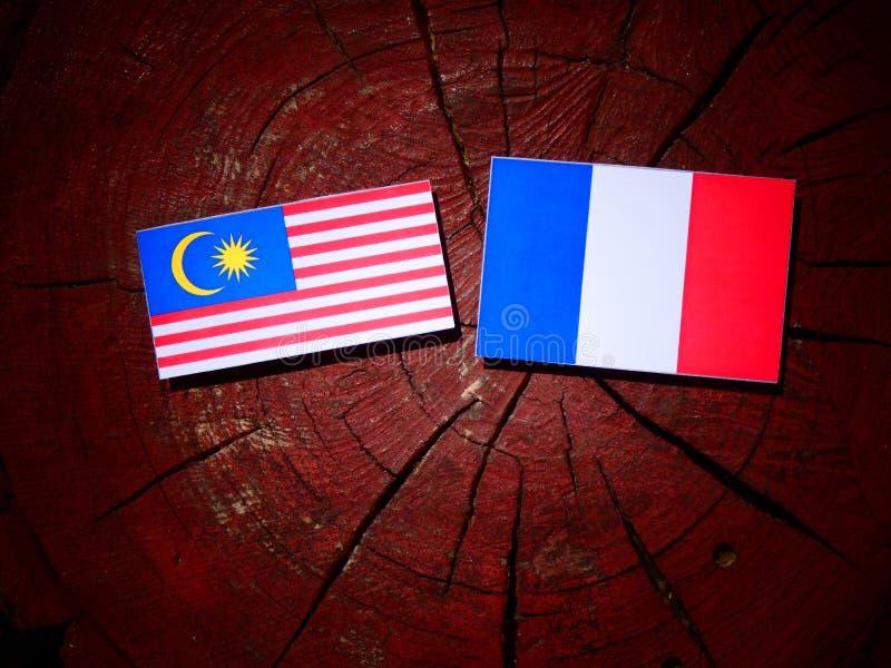 Drapeau malaisien avec le drapeau français sur un tronçon d'arbre d'isolement images stock