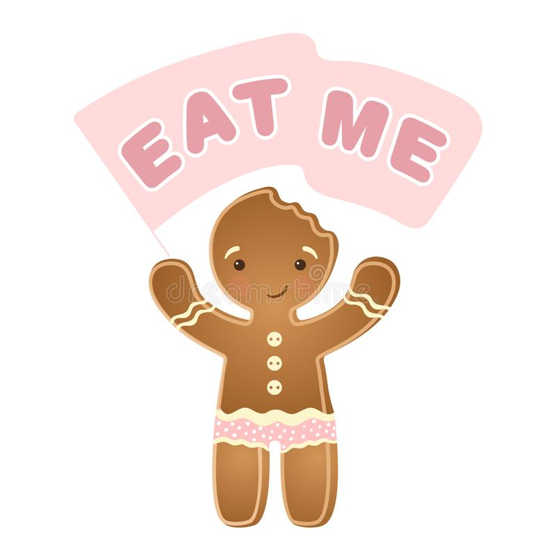 Drapeau mignon de signe de participation d'icône de biscuit de bonhomme en pain d'épice de Noël, d'isolement sur blanc, iilustrat illustration de vecteur