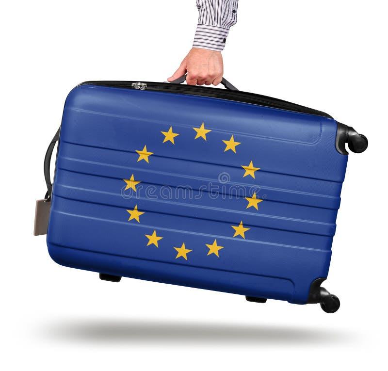 Drapeau moderne d'Union européenne de valise images stock