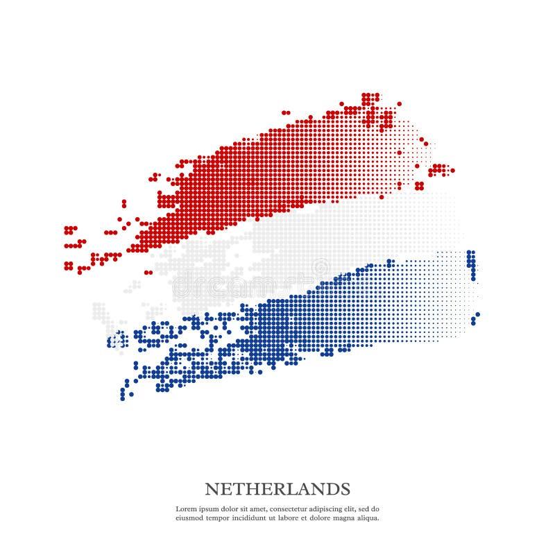 Drapeau néerlandais avec l'effet tramé, texture grunge illustration libre de droits