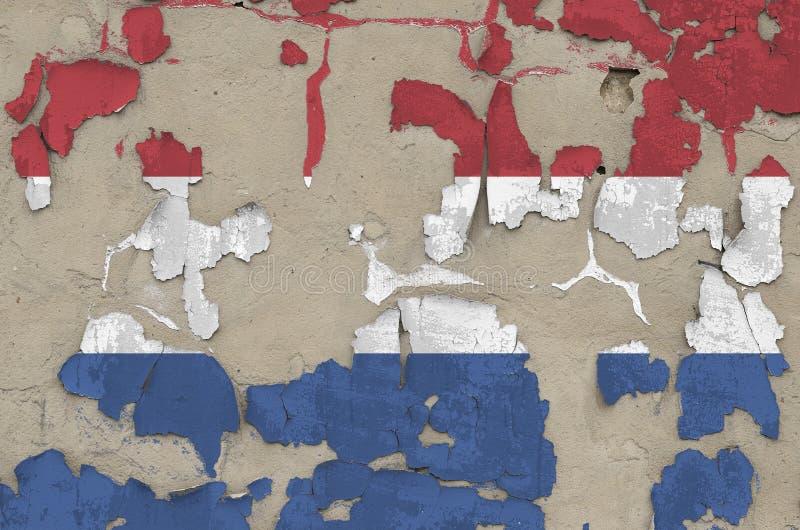 Drapeau néerlandais peint en couleurs sur un vieux mur en béton désuet Bannière textuelle sur fond brut photos stock