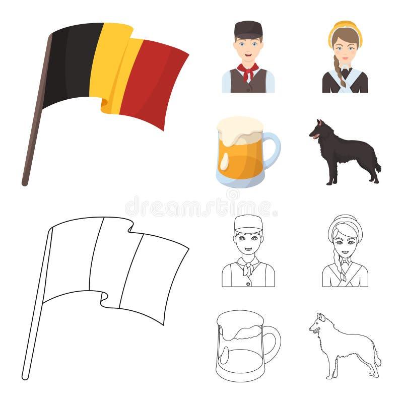 Drapeau national, Belges et d'autres symboles du pays Icônes réglées de collection de la Belgique dans la bande dessinée, vecteur illustration libre de droits