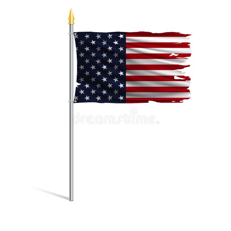 Drapeau national déchiré par ouragan des Etats-Unis illustration libre de droits