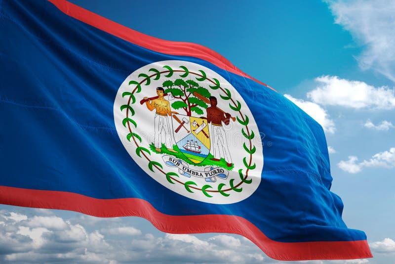 Drapeau national de Belize ondulant l'illustration 3d réaliste de fond de ciel bleu illustration stock