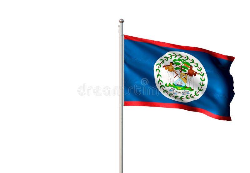Drapeau national de Belize ondulant l'illustration 3d réaliste d'isolement de fond blanc illustration libre de droits