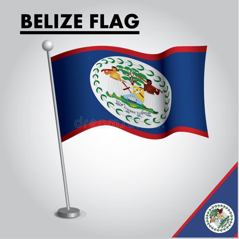 Drapeau national de drapeau de BELIZE de BELIZE sur un poteau illustration libre de droits