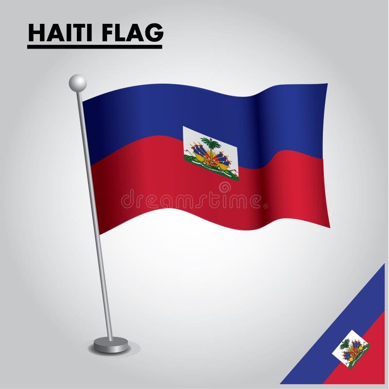 Drapeau national de drapeau du HAÏTI du HAÏTI sur un poteau illustration de vecteur