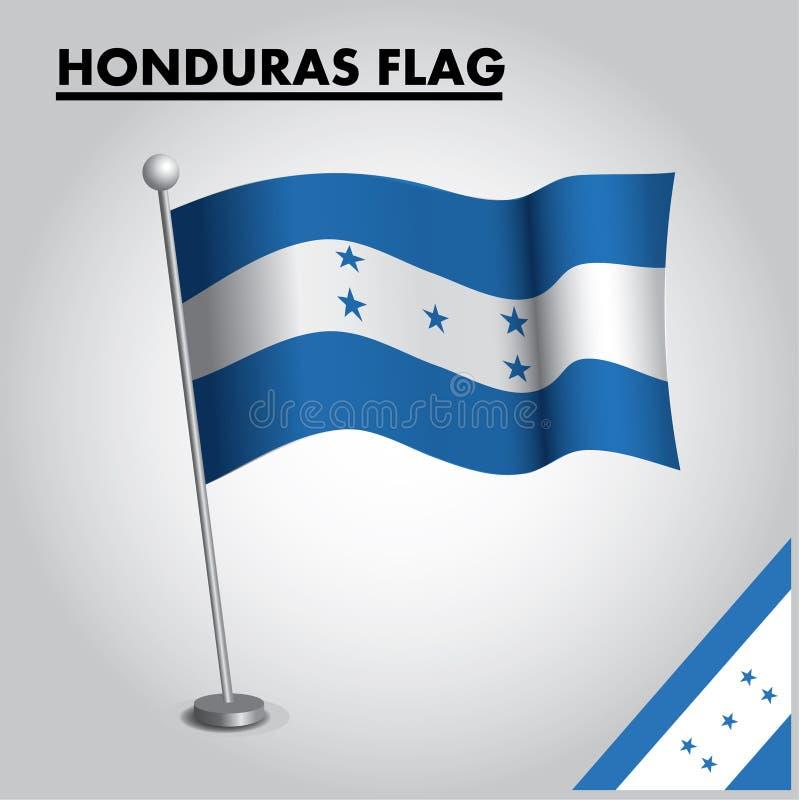 Drapeau national de drapeau du HONDURAS du HONDURAS sur un poteau illustration libre de droits