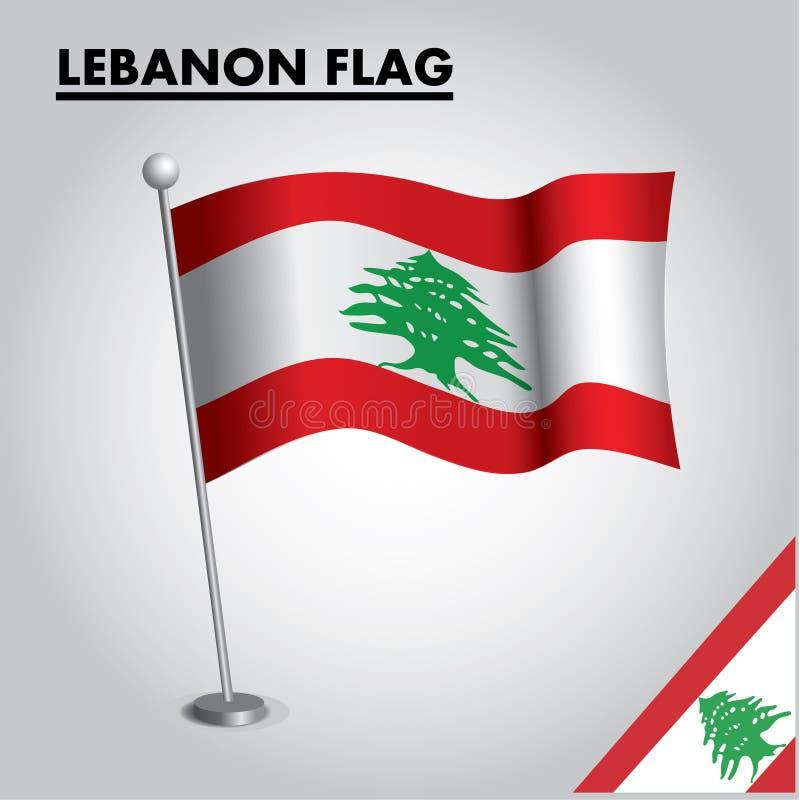 Drapeau national de drapeau du LIBAN du LIBAN sur un poteau illustration libre de droits