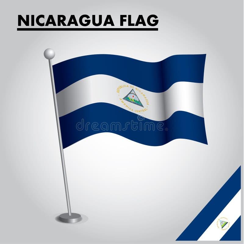 Drapeau national de drapeau du NICARAGUA du NICARAGUA sur un poteau illustration stock