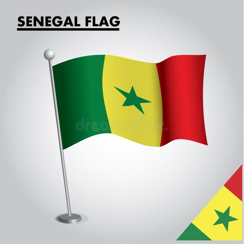 Drapeau national de drapeau du SÉNÉGAL du SÉNÉGAL sur un poteau illustration libre de droits