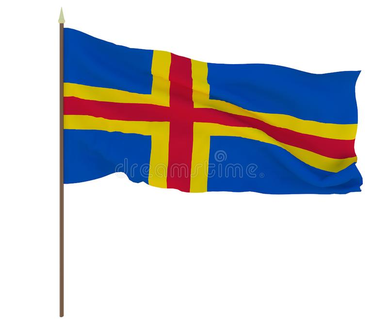 Drapeau national de fond d'îles de Åland pour des rédacteurs et des concepteurs Vacances nationales image stock