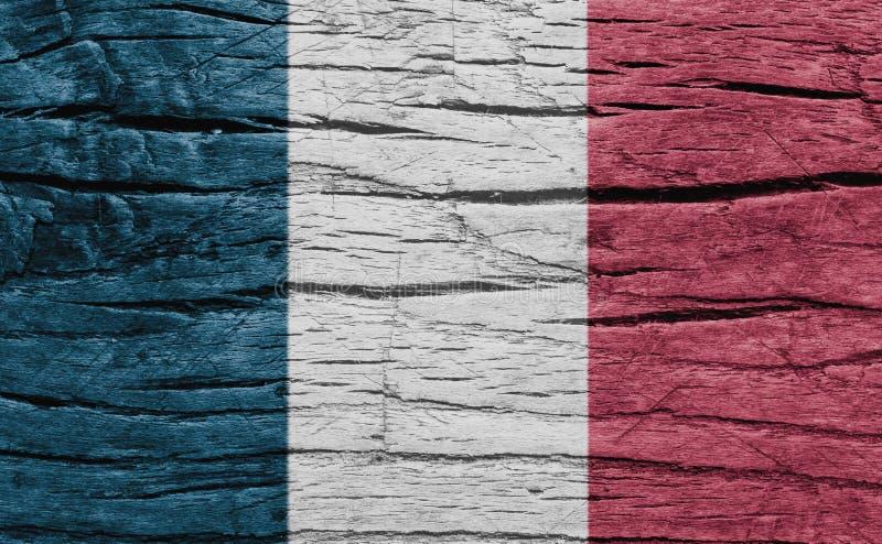 Drapeau national de Frances sur le fond en bois de texture image libre de droits