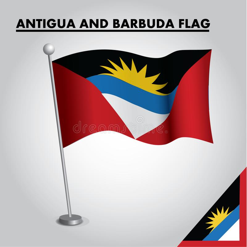 Drapeau national de drapeau de l'Antigua-et-Barbuda de l'Antigua-et-Barbuda sur un poteau illustration stock