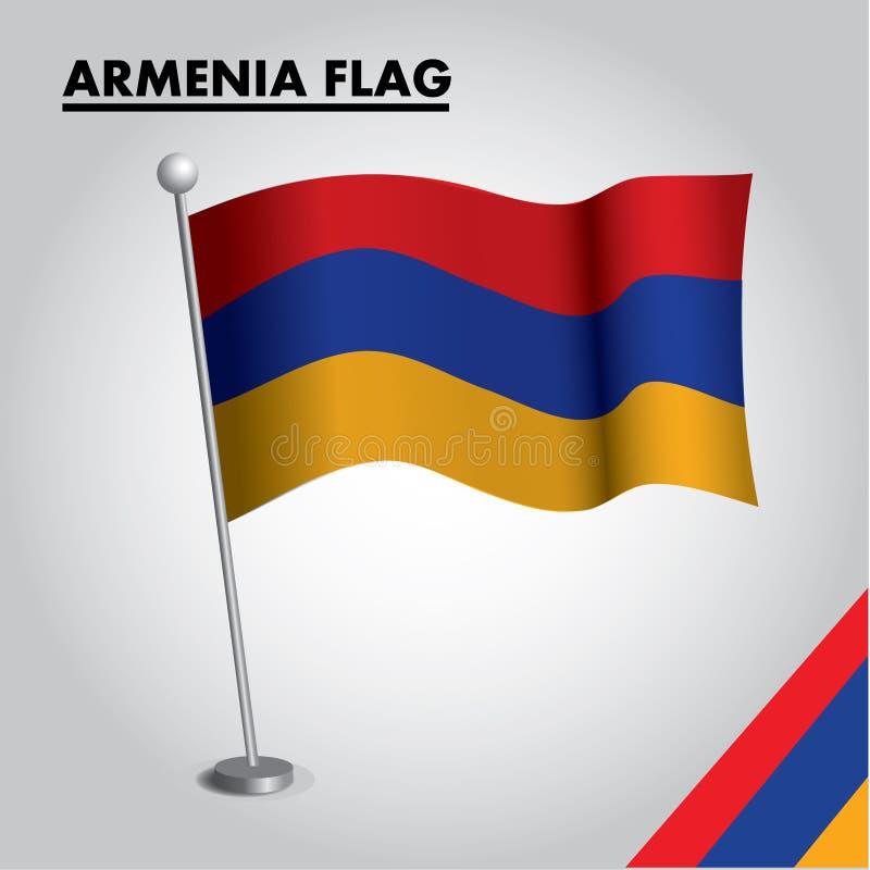 Drapeau national de drapeau de l'Arménie de l'Arménie sur un poteau illustration libre de droits