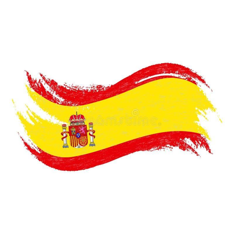 Drapeau national de l'Espagne, conçu utilisant des courses de brosse, d'isolement sur un fond blanc Illustration de vecteur illustration libre de droits