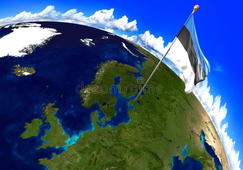 Drapeau national de l'Estonie marquant l'emplacement de pays sur la carte du monde 3D rendu, parties de cette image meublées par  illustration libre de droits